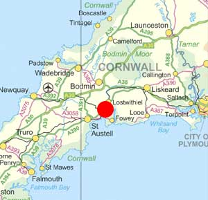 Map of South Cornwall showing the general location of Pelyn Barn Farm
